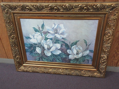 X-large magnolia painting in wide ornate gold frame-50x38""