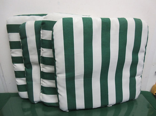 Set of 4 green and white striped chair seat cushions - indoor/outdoor
