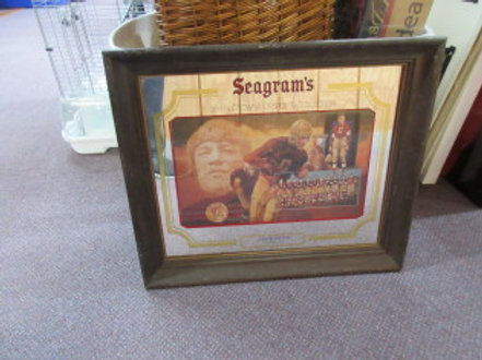 Seagram's framed bar mirror with Jim Thorpe photos in the mirror 17x20