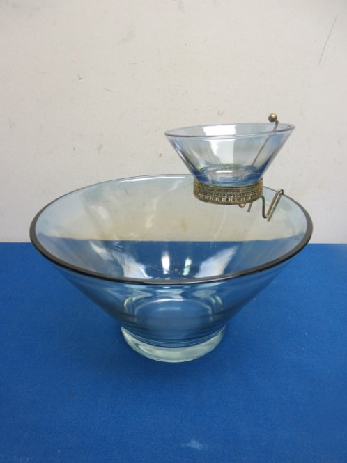 Vintage blue glass chip and dip set, small bowl hangs over larger bowl