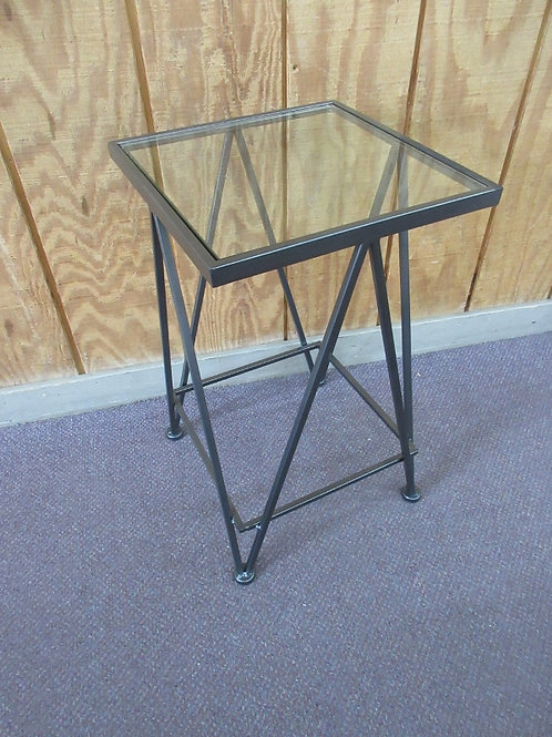 Heavy metal square accent stand with thick glass top insert, 13x13x22