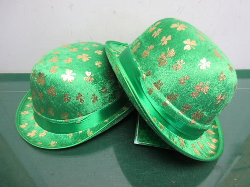 Pair of green St Patrick hats with shamrocks