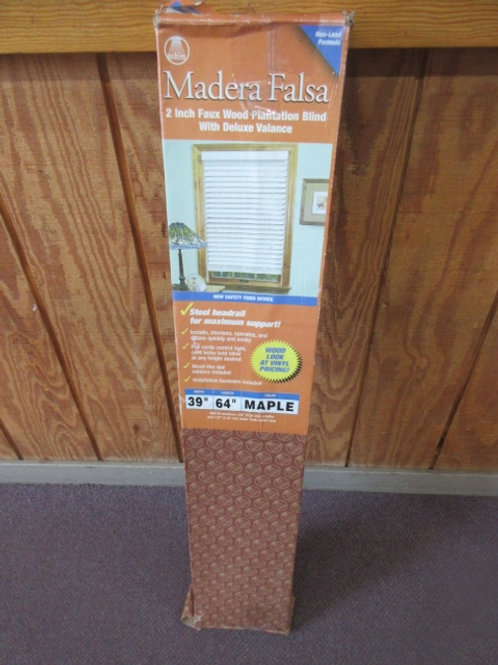 "Faux wood plantation blind, 2 inch Maple color, 39""wide x 64"" long"