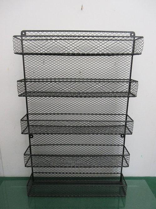 Black heavy metal wire design wall hanging-5 shelf pockets
