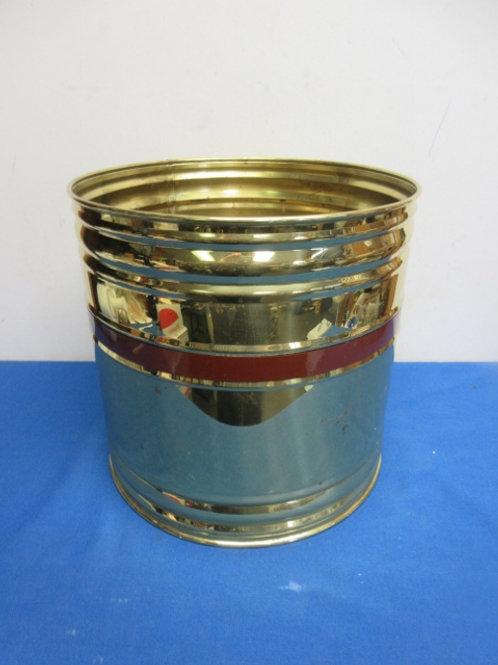 Large gold metal planter/wastebasket-wear
