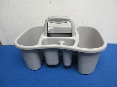Gray plastic shower caddy