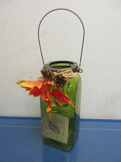 "Green glass jar style tea light candle holder 9"""