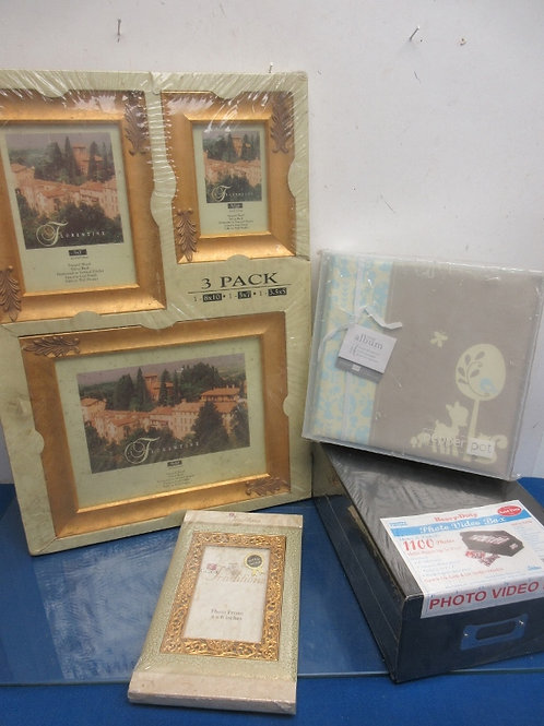 Photo group-4vintage gold frames, small album, photo box, all Never used
