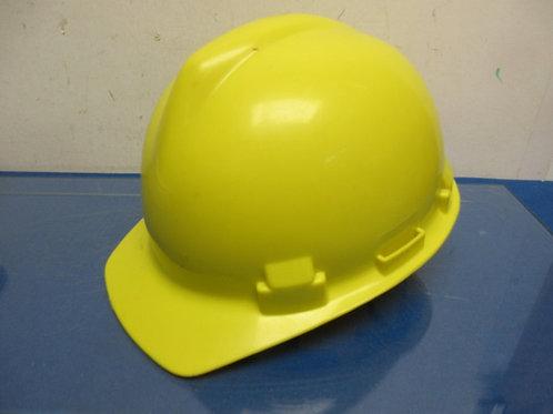 Yellow hard hat with adjustable headband