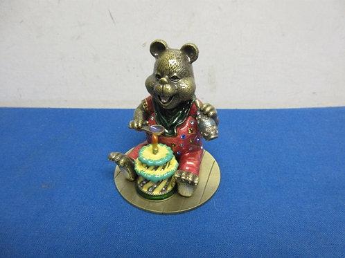 Cast metal birthday bear shaped ring box