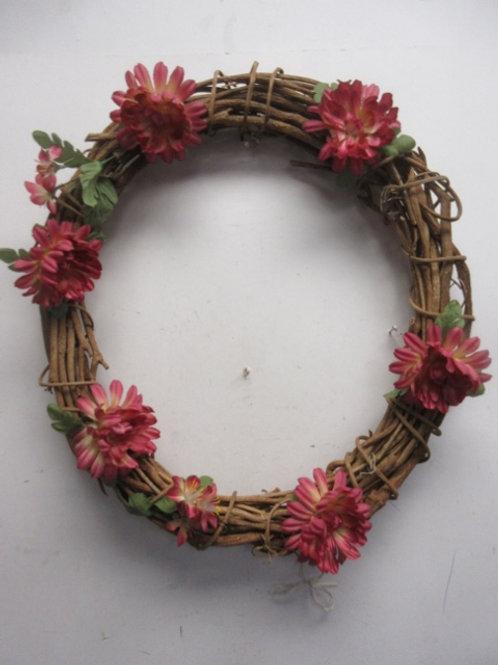 "Vine wreath with pink flowers, 17"" diameter"