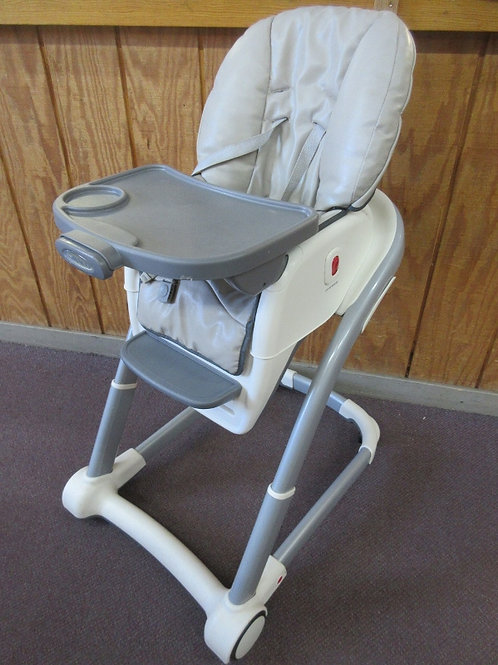 Graco gray, white and tan high chair with removable tray