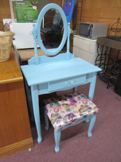 Blue painted vanity with drawer, swivel mirror and disney princess covered bench