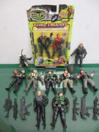 "Set of 11 ""The Corps"" GI Joe type solder action figure with accessories"