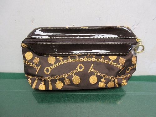 Brown and gold cosmetic bag