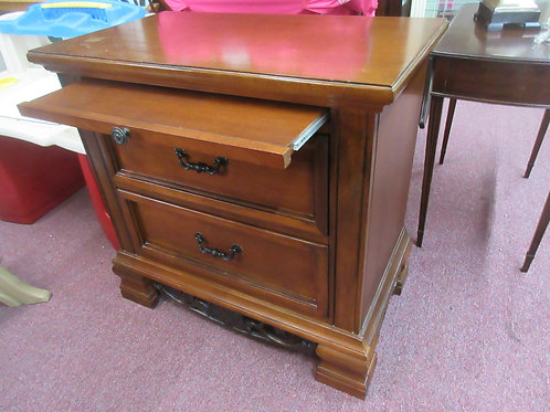 """Large cherry nightstand with pullout shelf and 2 drawers, 18x31x31""""high"""