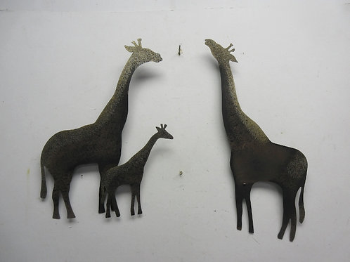 Welded metal giraffe wall hangings, (3 giraffes)