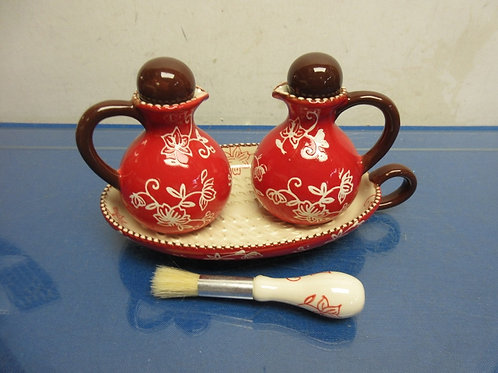 Temptations Red Floral Lace 4pc set, cruet set with tray and brush