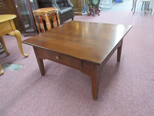 Solid cherry square coffee table with 2 drawers
