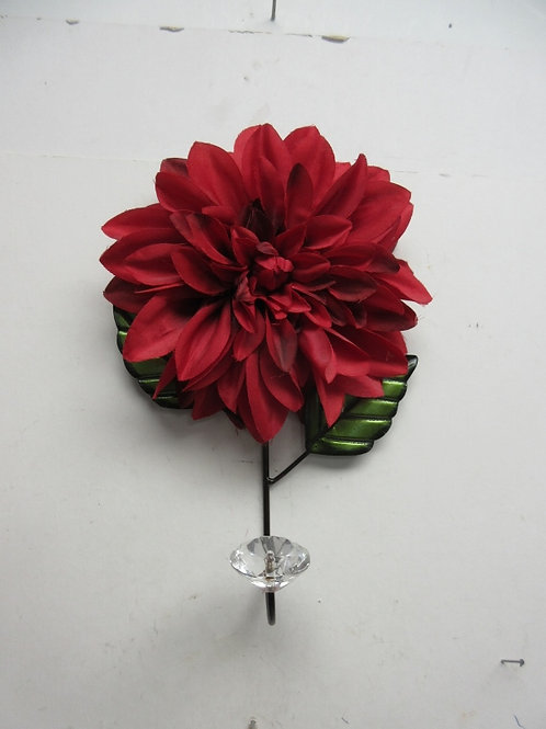 Metal wall hook with large red flower & faux diamond hook design