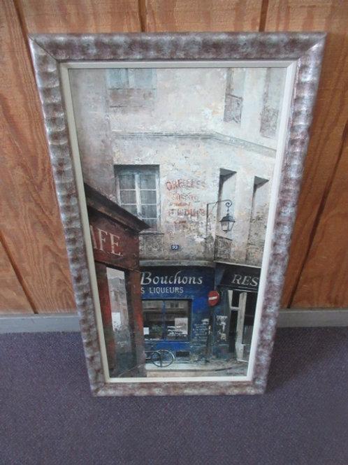 """Large print of Paris café, gold & silver frame, 19x36"""""""