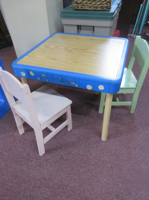 Child's table and 2 chairs, wear