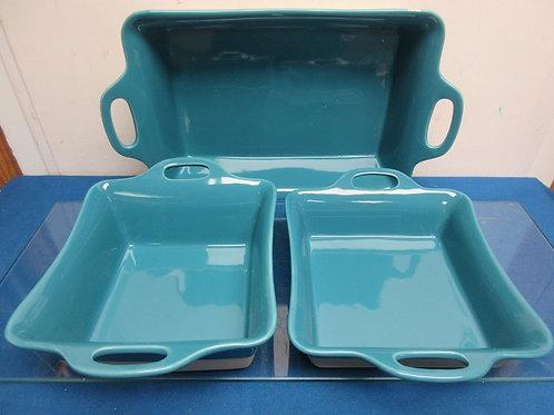 Rachael Ray set of 3 dip glazed stoneware, turquoise