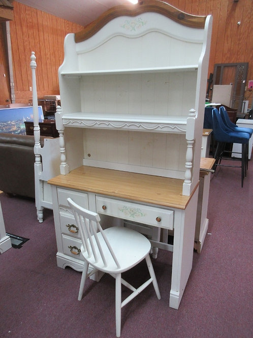Ivory natural top 5 drawer desk with hutch &chair, floral design 18x40