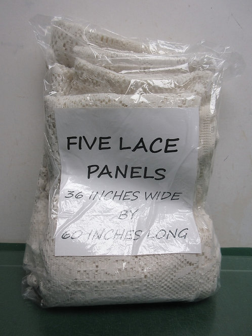 """Set of 5 lace curtain panels, each 36"""" wide x 60"""" long"""