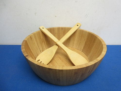 """Large wood salad bowl and utensils, 12"""" dia x 4"""" deep -never used"""