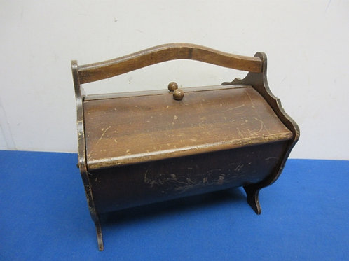 Antique sewing caddy with flip open doors--wear