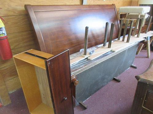 Cherry King platform bed w/2 drawer under bed storage  9 support posts headboard
