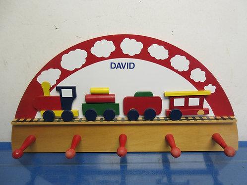 Small child's wood coat rack w/dimensional train decor-personalized w/name DAVID