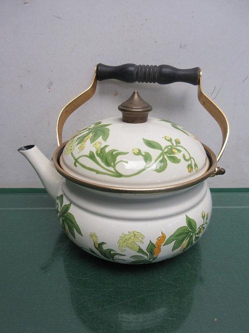 Asia porcelain coated floral design metal tea pot