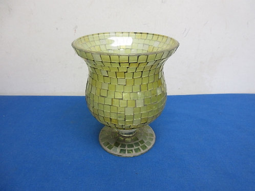 Yellow mosaic pedestal glass vase