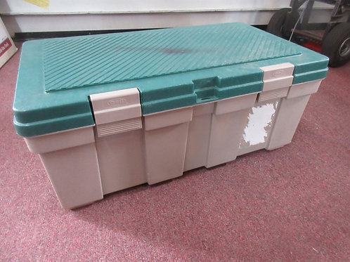 """Green and gray plastic hinged trunk with snap locks, 19x33x14""""high"""