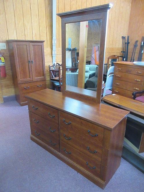 "Cherry tone 6 drawer dresser with mirror, 53.5x17x30"" mirror 28x41"