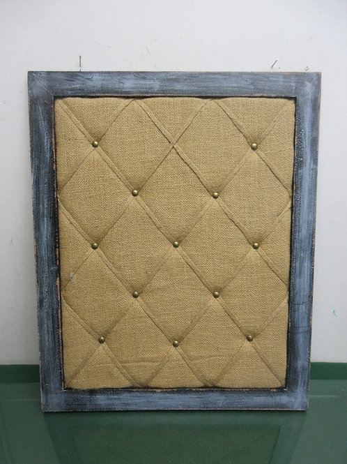 Rustic distressed gray wooden framed burlap bulletin board,18x22""