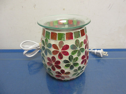 Pink/blue/green floral mosaic style glass wax melter nightlight