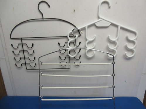 Specialty hangers, 1 pant and 2 for belts or ties
