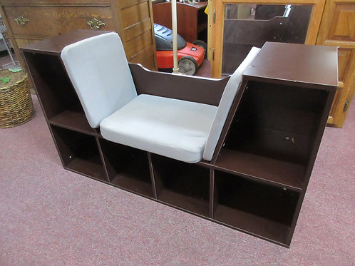 """Dark tone child's bookcase w/ padded seat in middle,12 x 40  x 22""""high"""