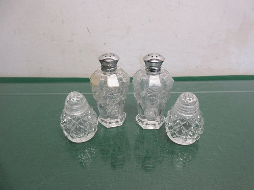 Two sets of cut glass salt & pepper shakers