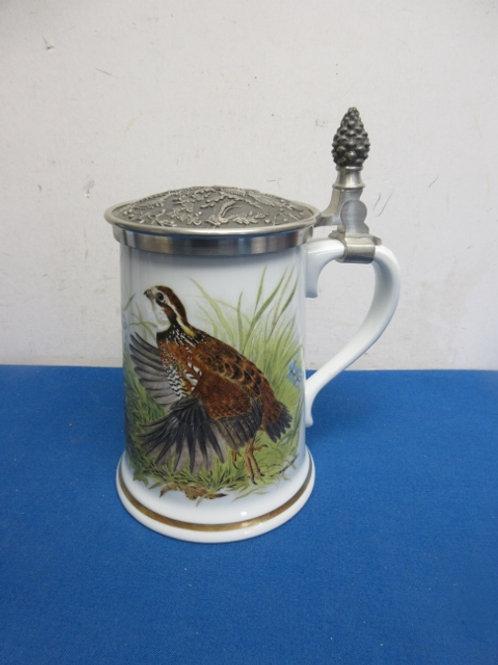 The Bobwhite quail game bird stein with metal lid