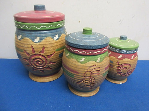 """Southwestern design sealing 3 pc canister set with lids, 9"""", 7"""" and 6"""""""