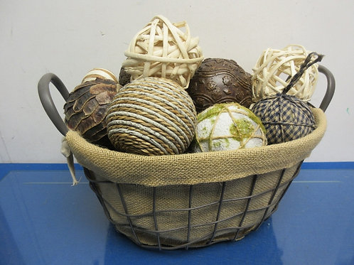 "Metal oval basket with burlap liner filled with orbs & potpourri 11x14x7""high"