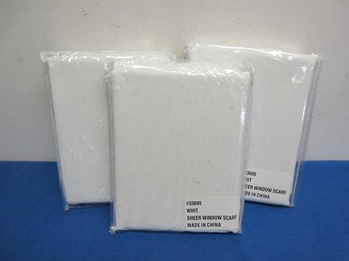 Set of 3 white sheer window scarves, New in Pkg,
