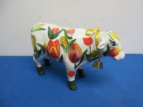 Ceramic cow bank with handpainted florals - horns broken off