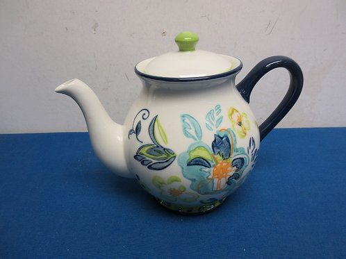 Handpainted blue, green and white teapot