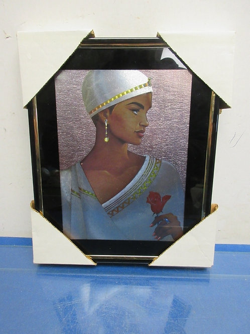 Foil print of african lady holding a rose - 9x10