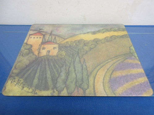 """Glass cutting board with country scene, 12x15"""""""
